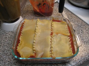 Vegan Lasagna_top layer of noodles